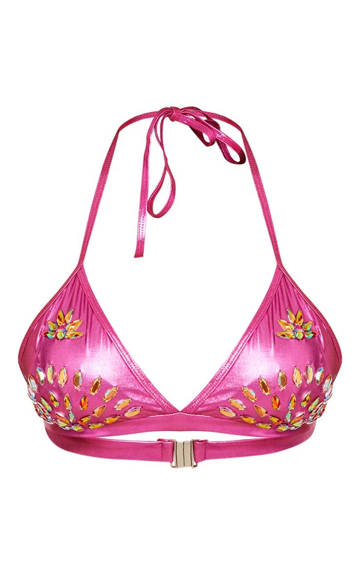 Premium Pink Metallic Beaded Triangle Bikini Top 4