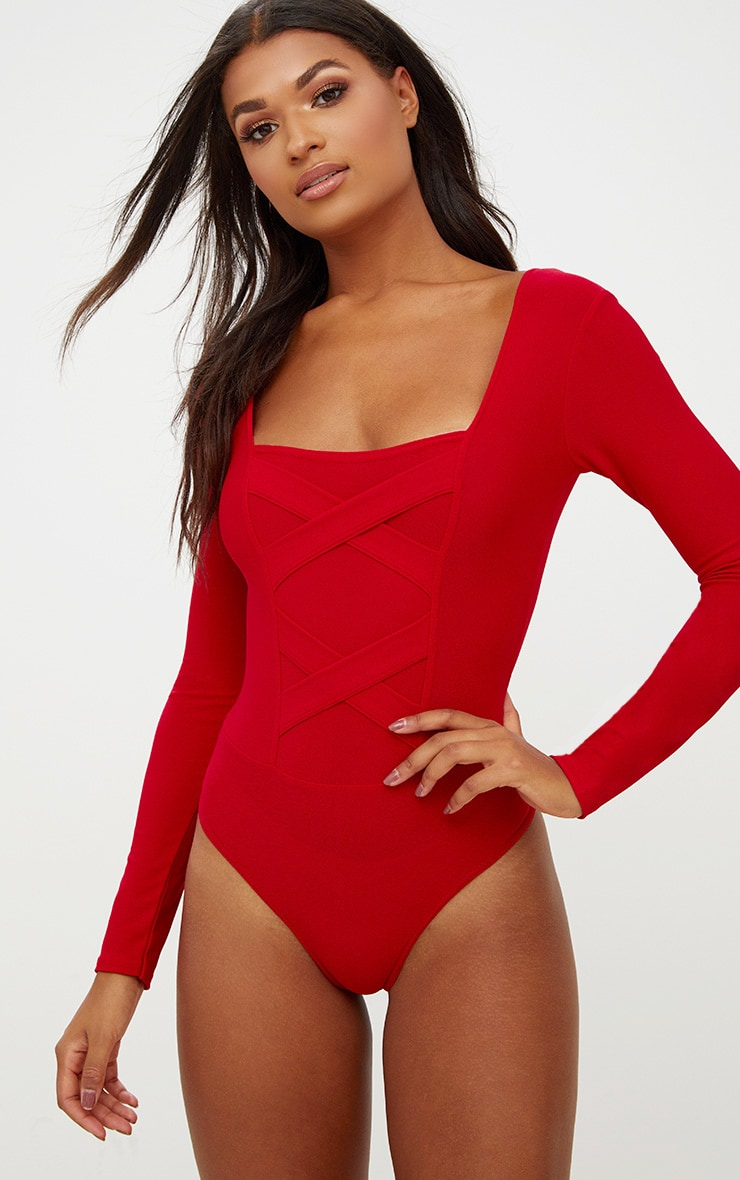 Red Crepe Cross Front Detail Thong Bodysuit 1