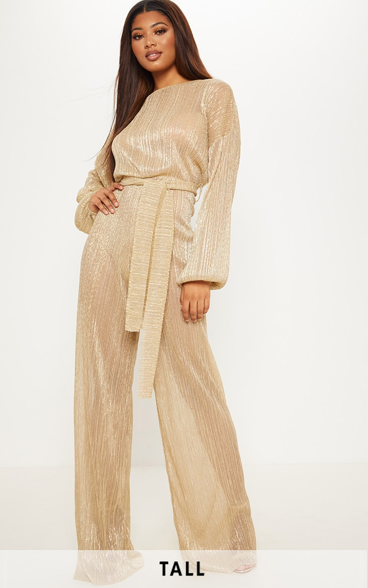 Tall Gold Metallic Sheer Pleated Tie Waist Jumpsuit