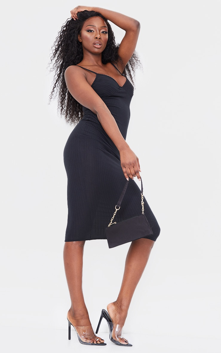 Black Brushed Rib Strappy Mesh Underlayer Midi Dress 3