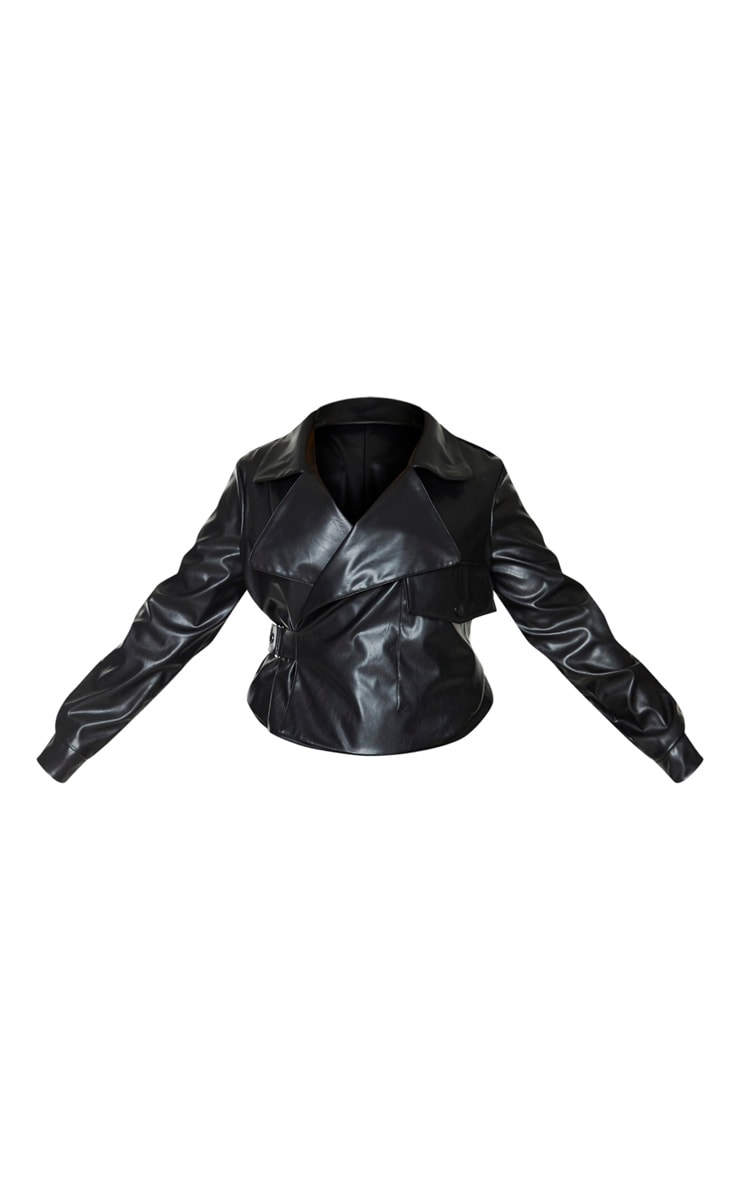 Plus Black PU Buckle Detailed Biker Jacket 3