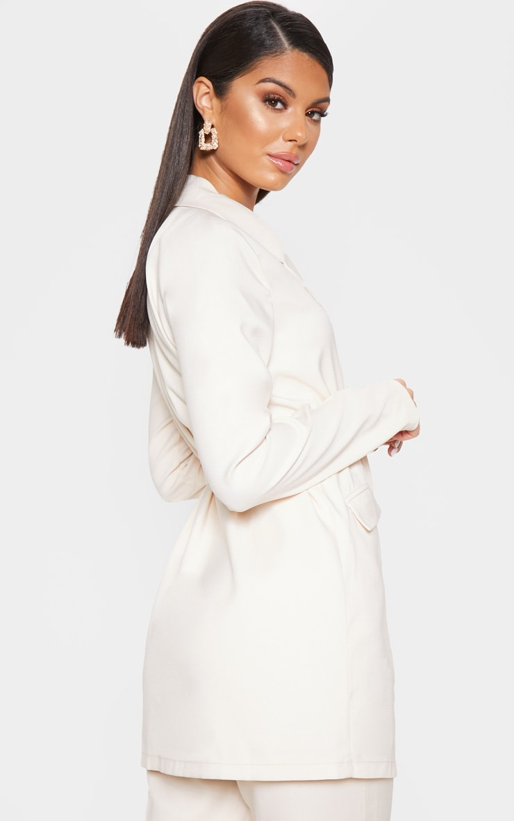 Ivory Tie Front Woven Blazer 2