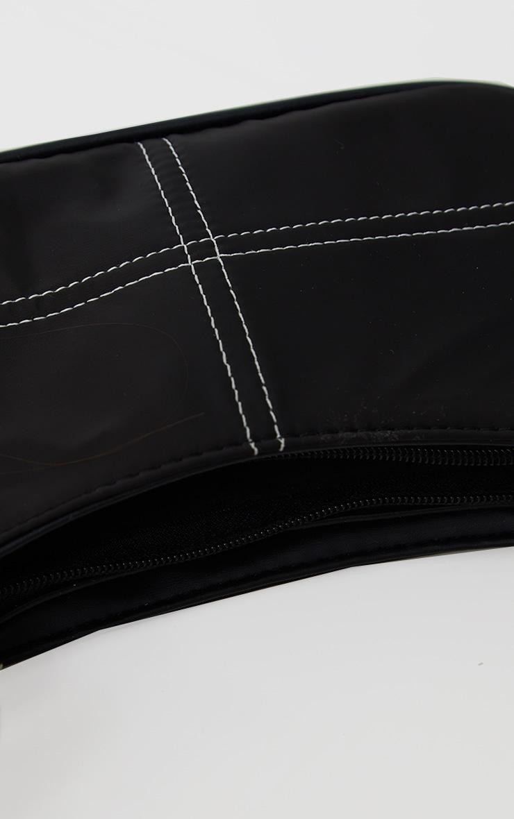 Black Exposed Stitch Shoulder Bag 3