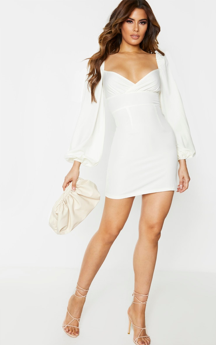 Tall Cream Balloon Sleeve Cross Over Swing Dress 1