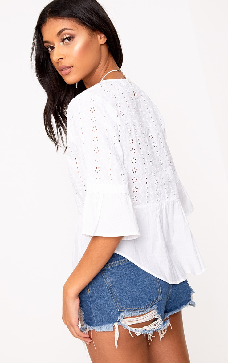 White Broderie Anglaise Crew Neck Smock Top  2