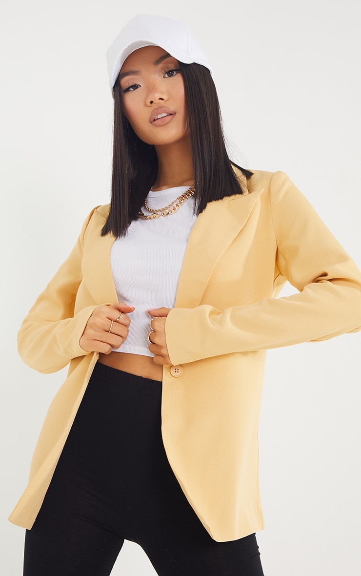 Petite Cream Single Breasted Oversized Blazer 1