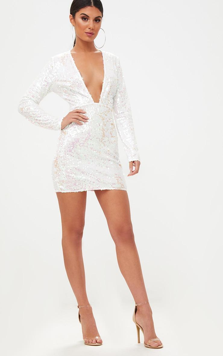 White Plunge Sequin Bodycon Dress 4