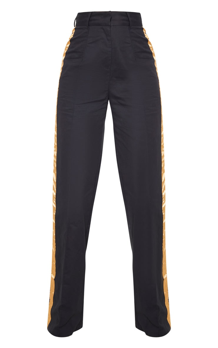 Black Contrast Side Ribbon Wide Leg Pants 3