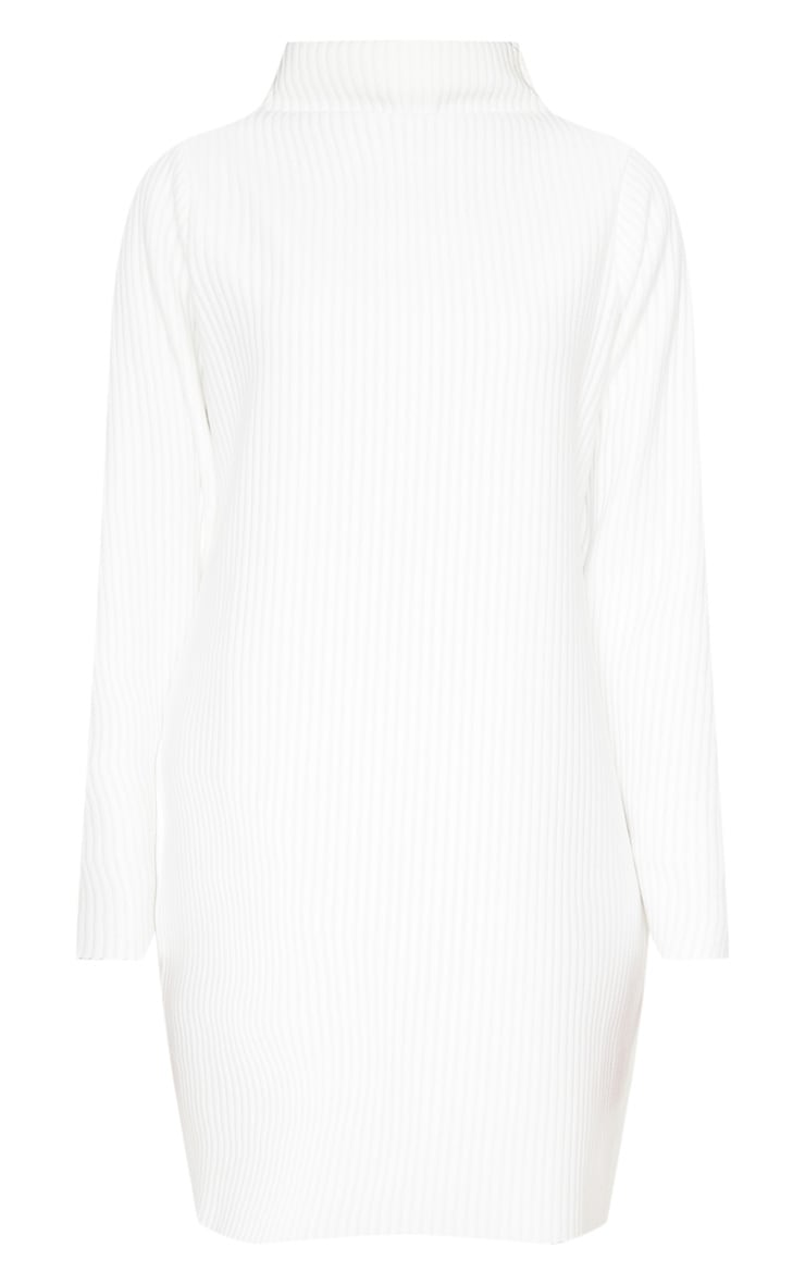 White High Neck Thick Ribbed Oversized Jumper Dress 3