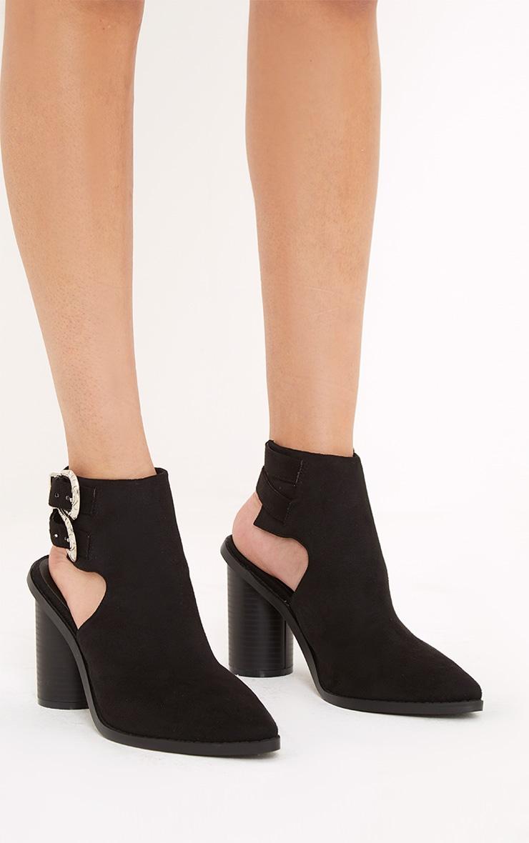Bernice Black Open Heel Western Boots 3