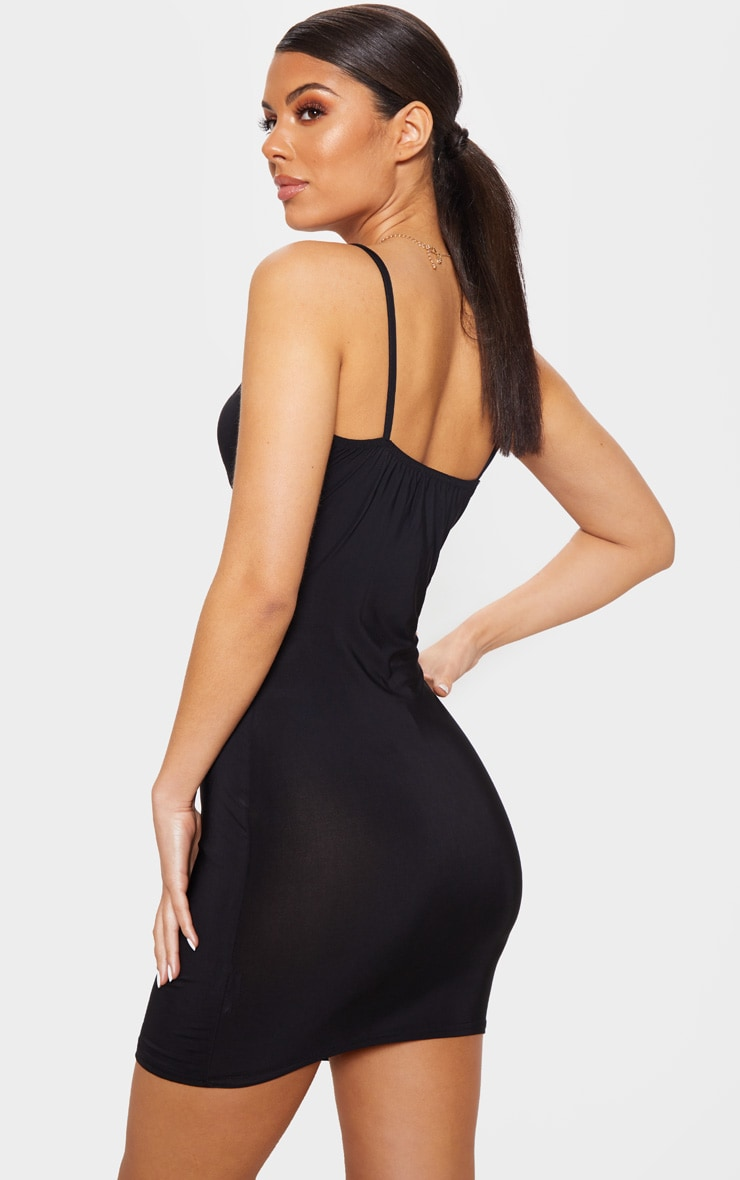 Black Slinky Cut Out Tie Detail Bodycon Dress 2