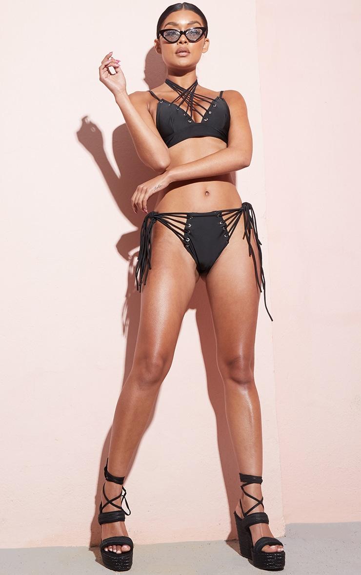 Black Strappy Eyelet Bikini Bottom 5