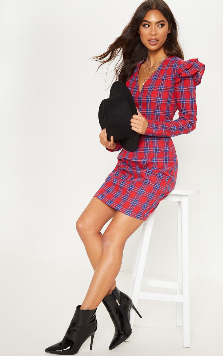 Red Tartan Frill Sleeve Shift Dress 4