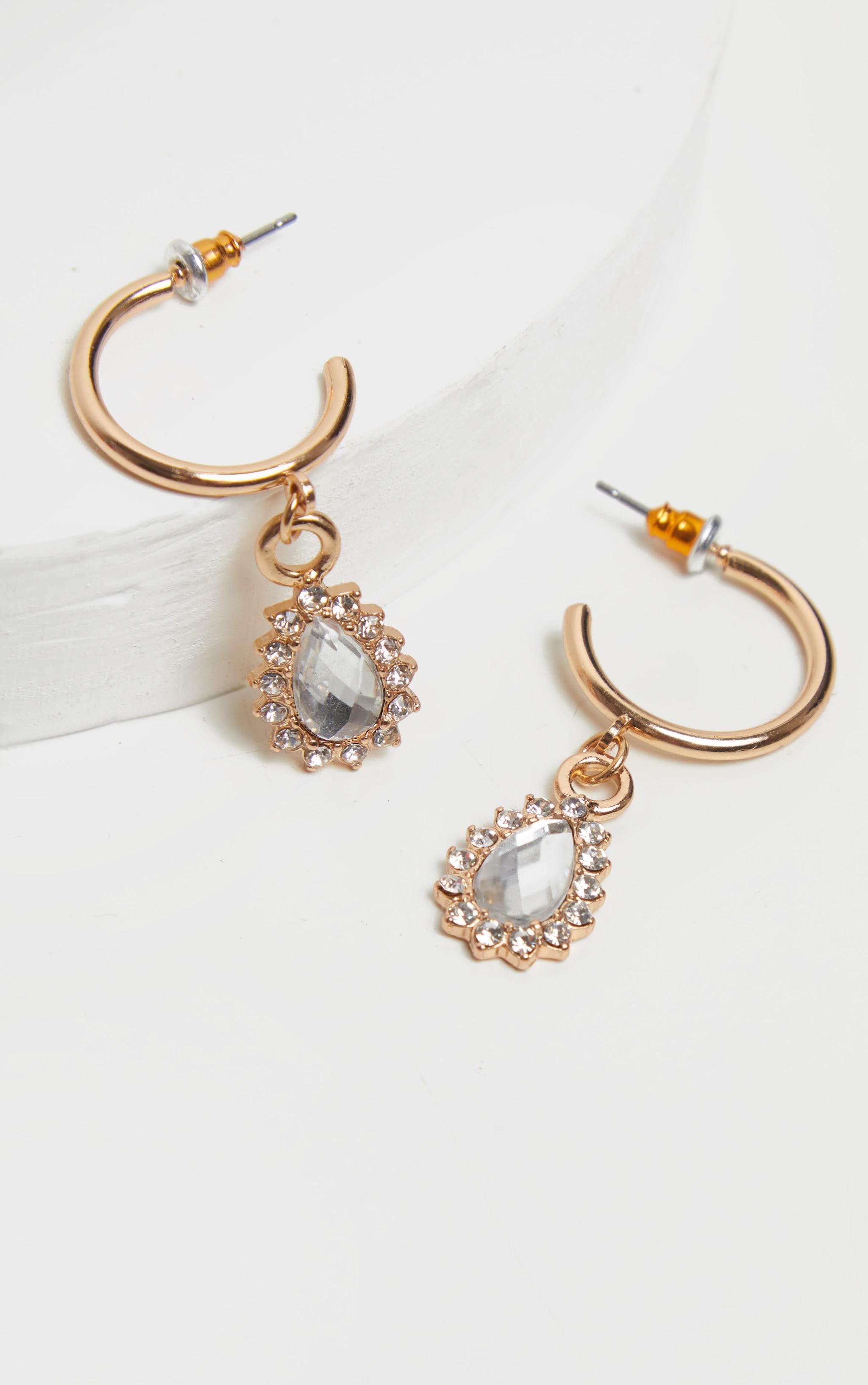 Gold Mini Hoop And Diamante Charm Earrings 3