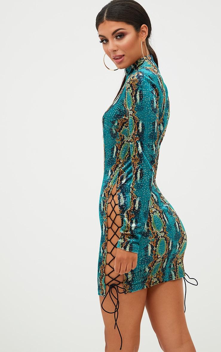 Green Velvet Snake Print Side Lace Up Bodycon Dress 2