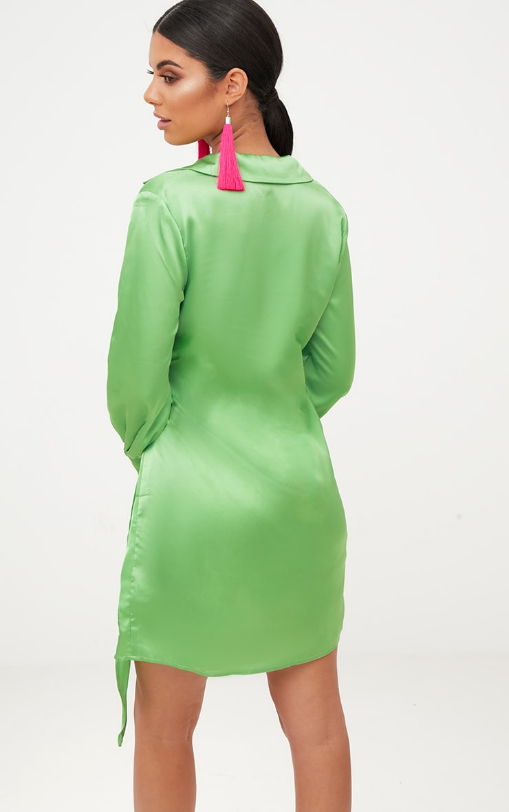 Lime Satin Deep Cuff Wrap Front Shift Dress  2