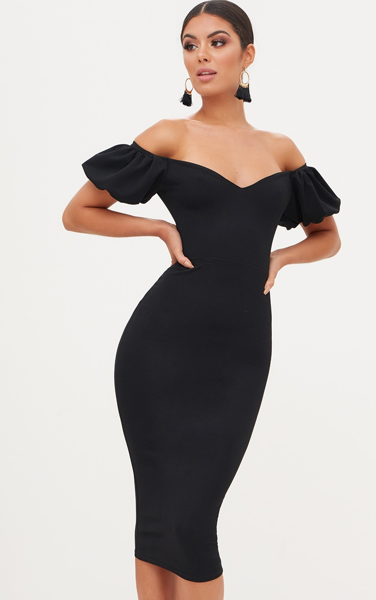 Black Balloon Sleeve Bardot Midi Dress 1
