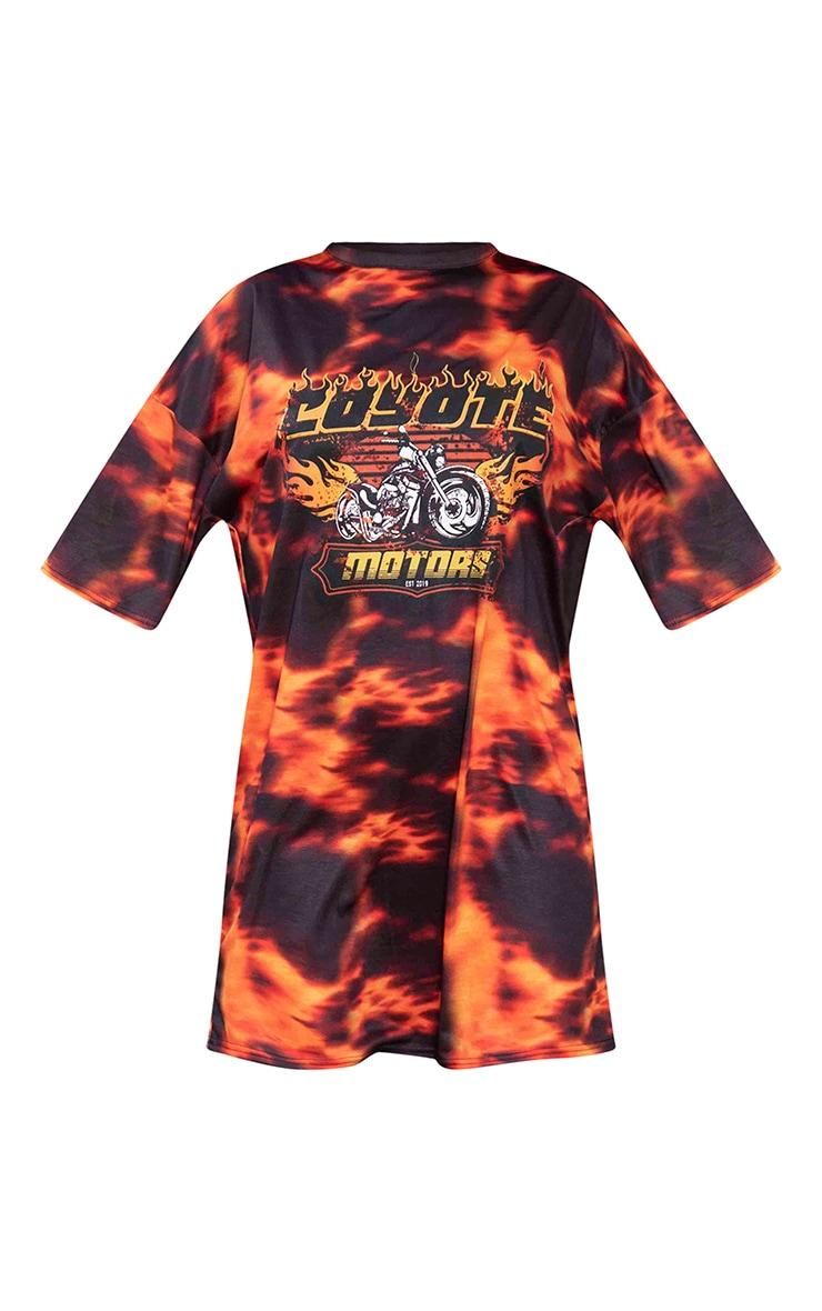 Orange Flame Print Oversized T-Shirt Dress 5