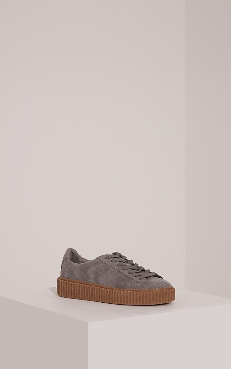 Cia Grey Faux Suede Creeper Trainers 6