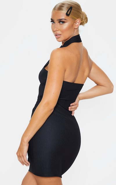 Black Ribbed Bandage Look Halterneck Bodycon Dress