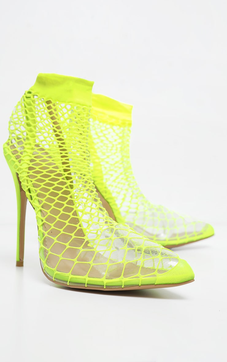 Lime Fishnet Slingback Pointed Toe Heels 3