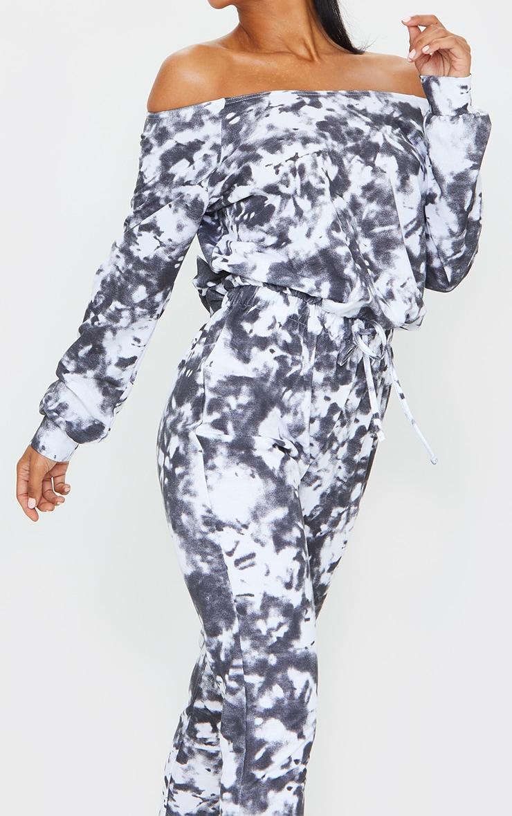 Black Tie Dye Sweat Bardot Stirrup Jumpsuit 4