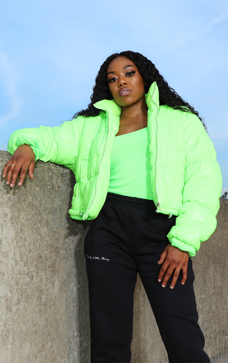 Petite Lime Cropped Neon Puffer Jacket 1