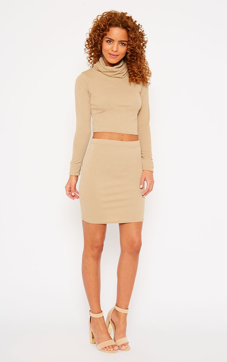 Emilia Beige Crepe Mini Skirt 1