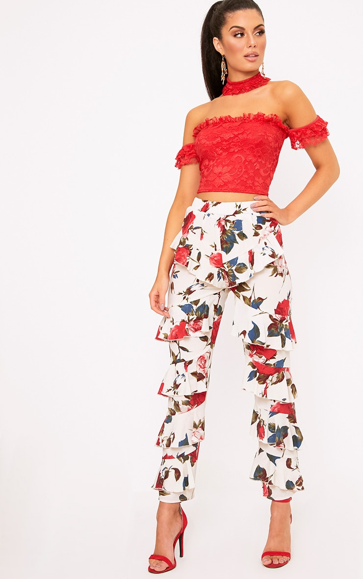 Cream Tiered Frill Floral Trousers 1
