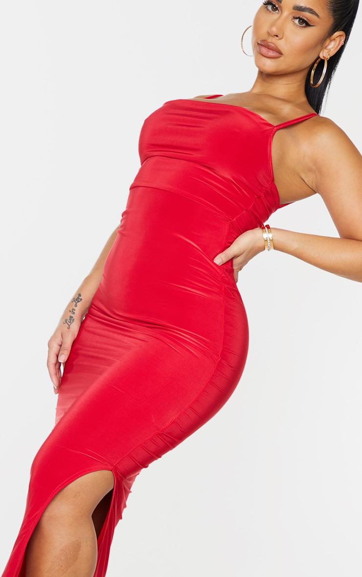 Shape Red Slinky Cowl Neck Midaxi Dress 4