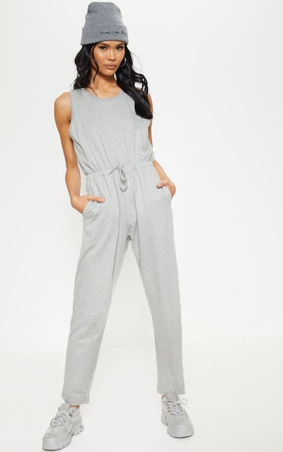 23be368b827 Grey Tie Waist Sleeveless Sweat Jumpsuit