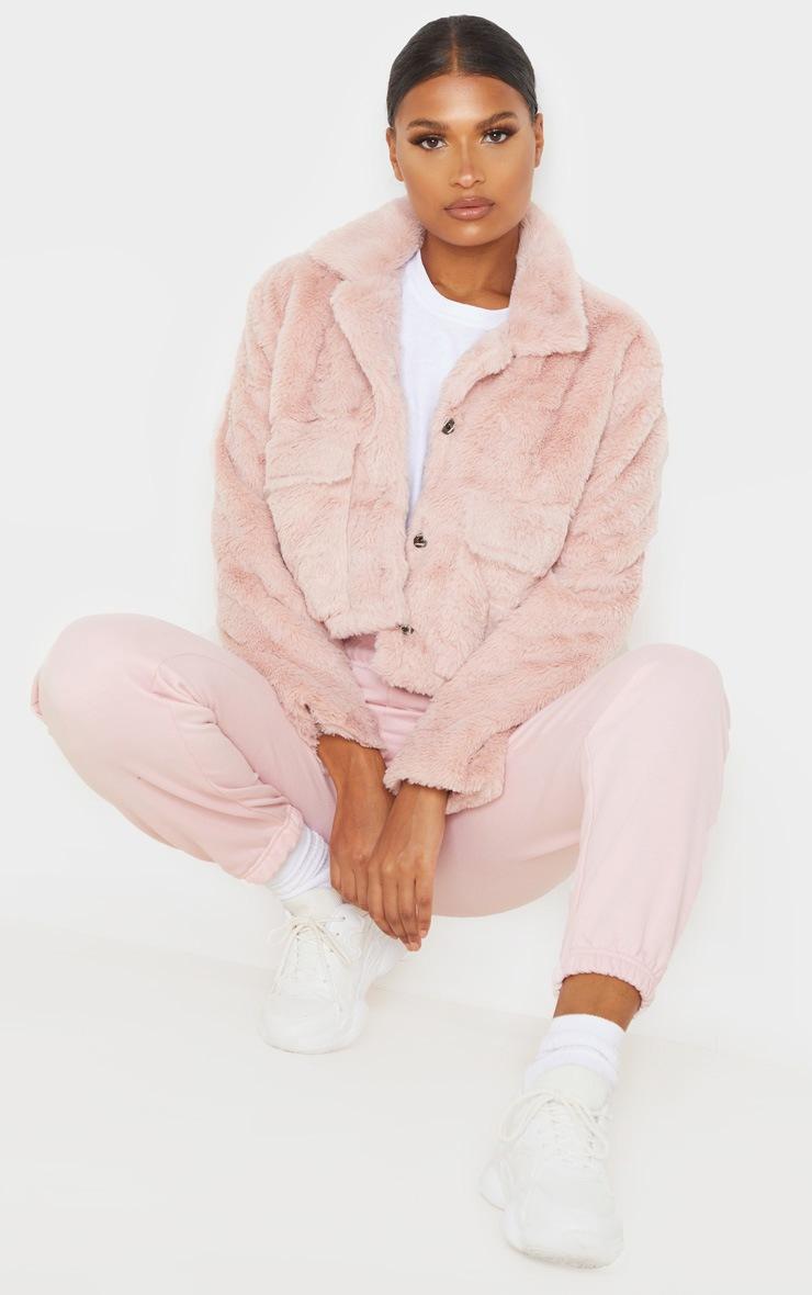 Dusty Pink Faux Fur Cropped Pocket Jacket 4