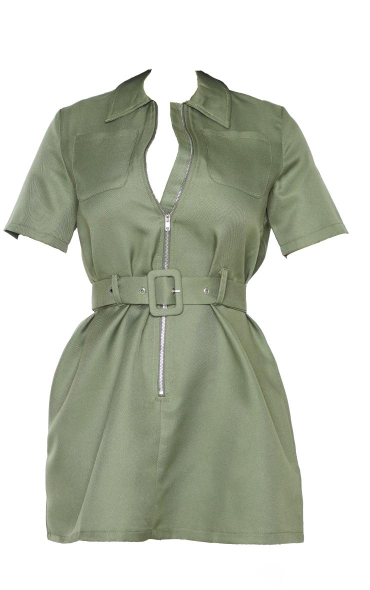 Petite Khaki Zip Detail Belted Utility Dress 6