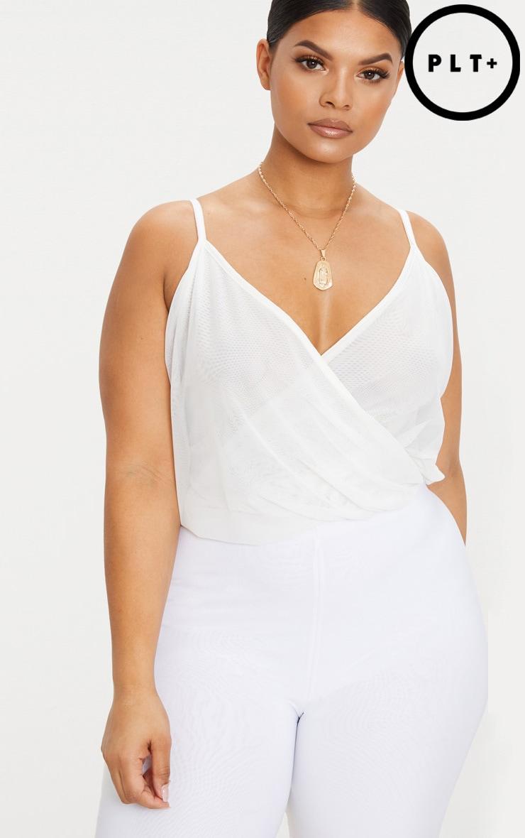 Plus White Mesh Wrap Bodysuit 1