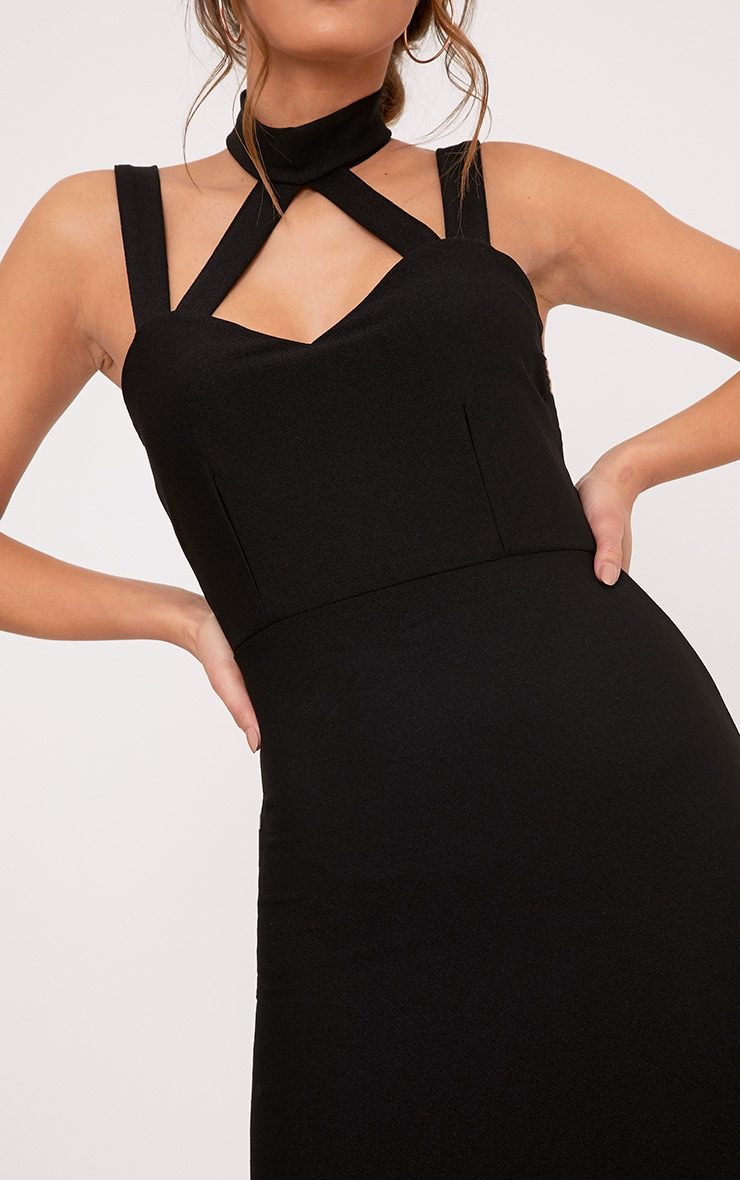 Alsah Black Strap Detail Bodycon Dress 5