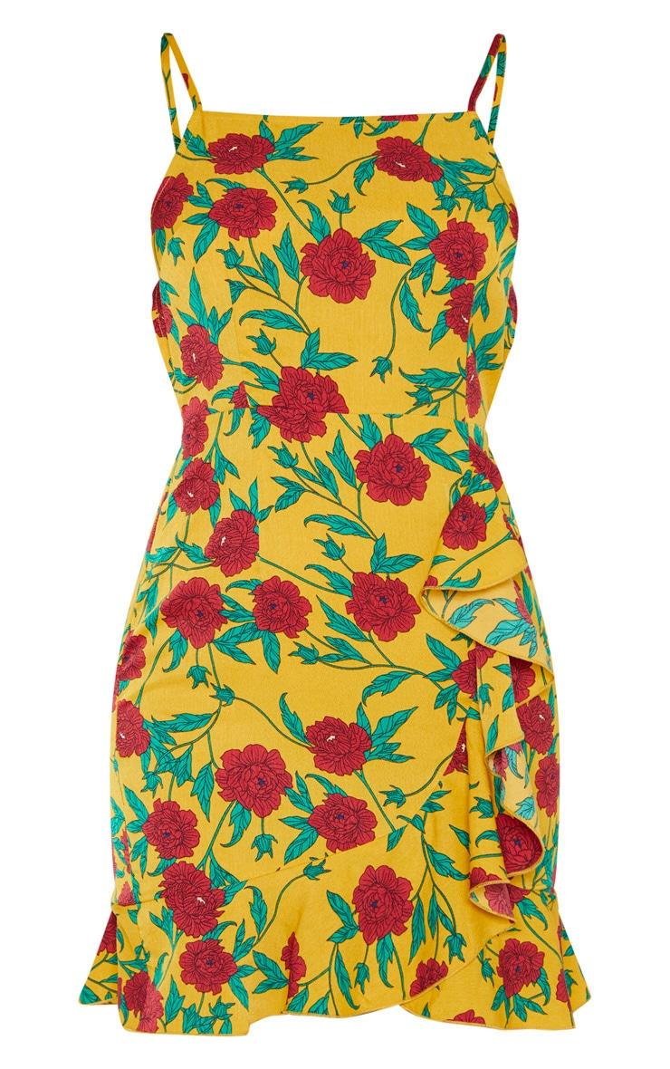 Yellow Floral Print  Frill Hem Bodycon Dress  3