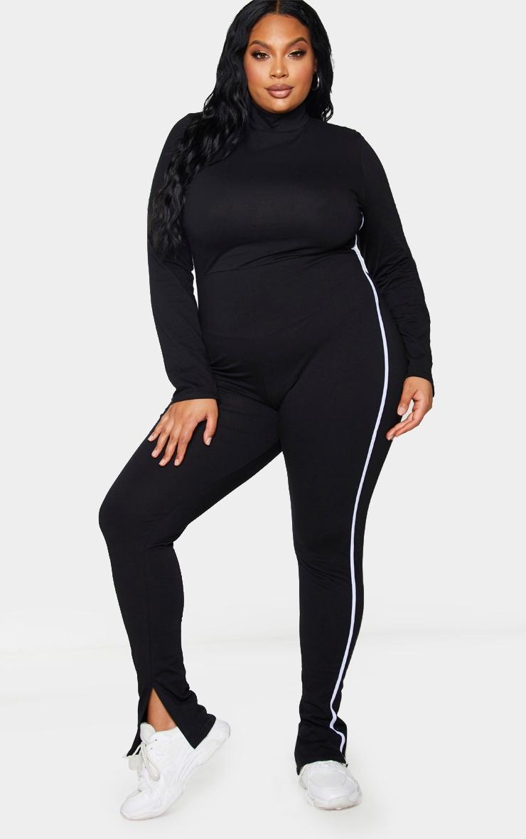 Plus Black Sports Stripe High Neck Jumpsuit 1