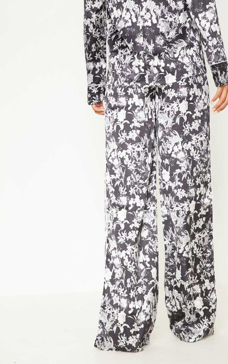 Black Floral Satin Printed Wide Leg Trousers 4
