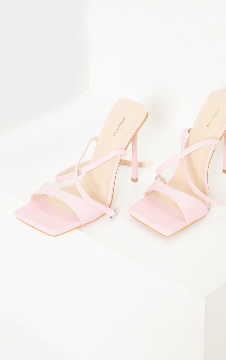 Baby Pink Pu Barely There Cross Back Strap High Heeled Sandals 4
