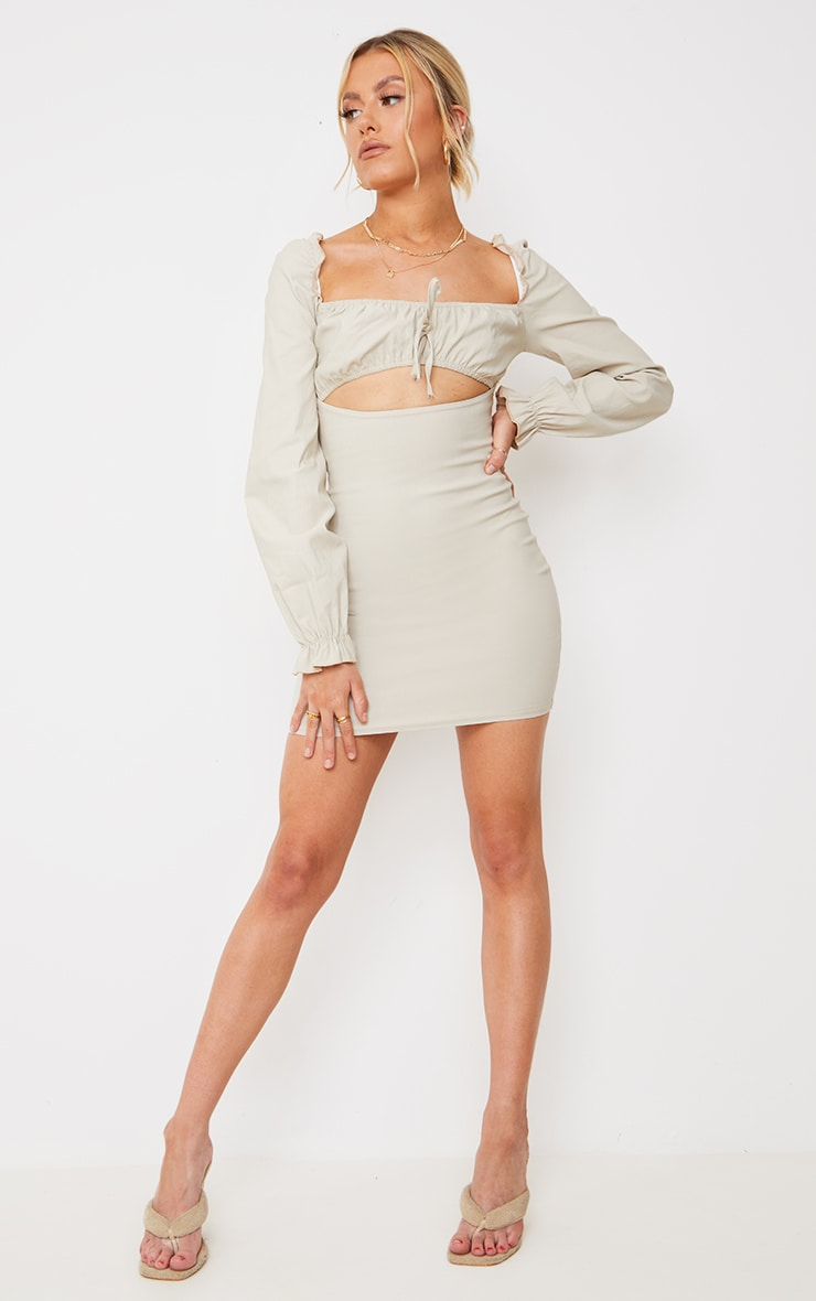 Stone Ruched Bust Detail Long Sleeve Bodycon Dress 3