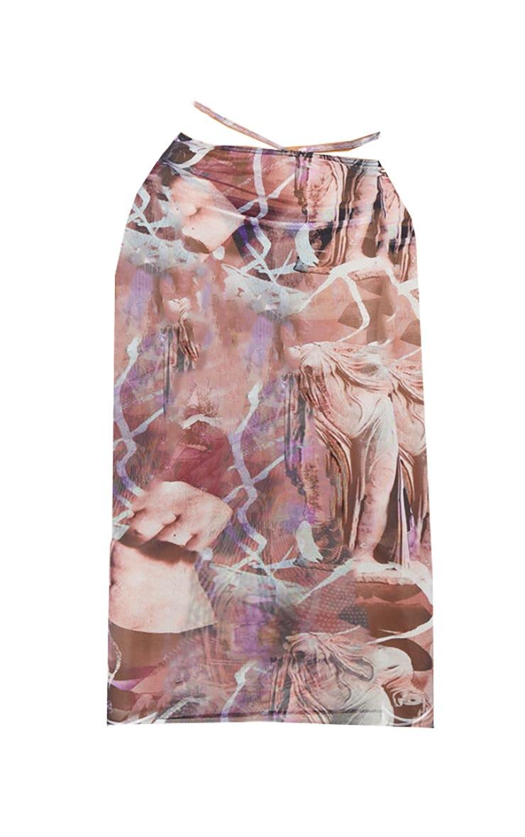 Shape Purple Renaissance Print Sheer Mesh Ring Detail Midaxi Skirt 6