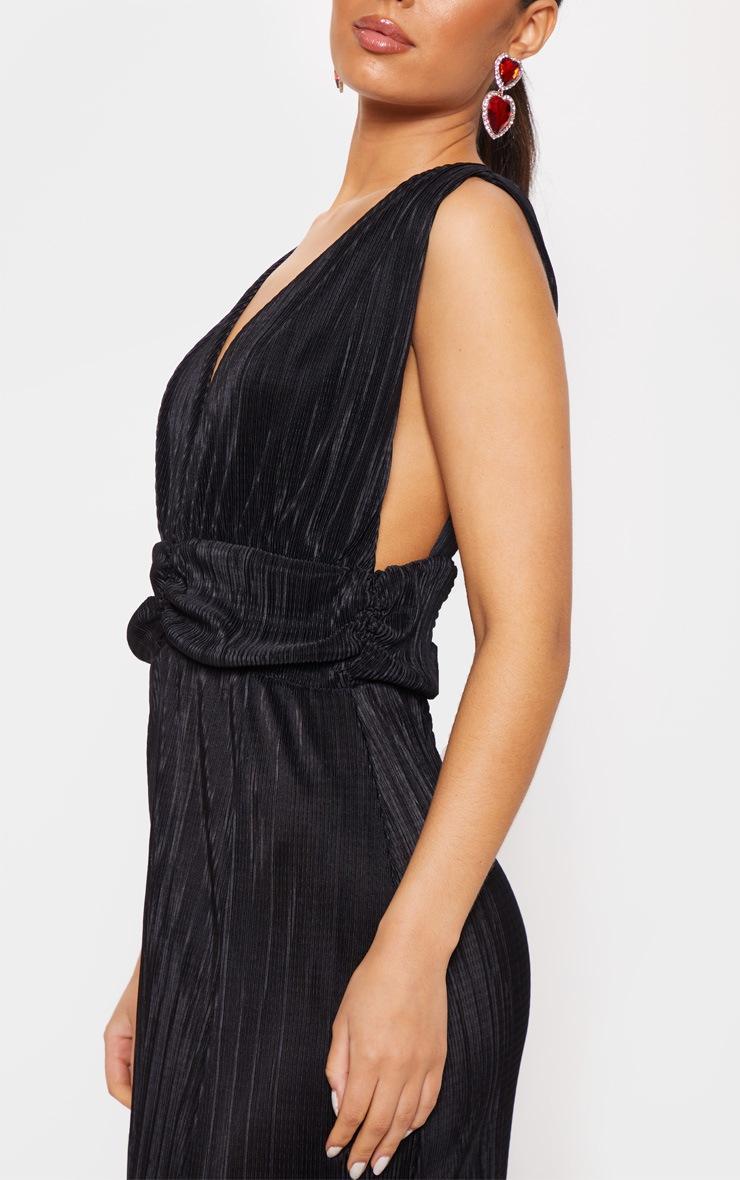 Black Plisse Plunge Ruched Detail Maxi Dress 5