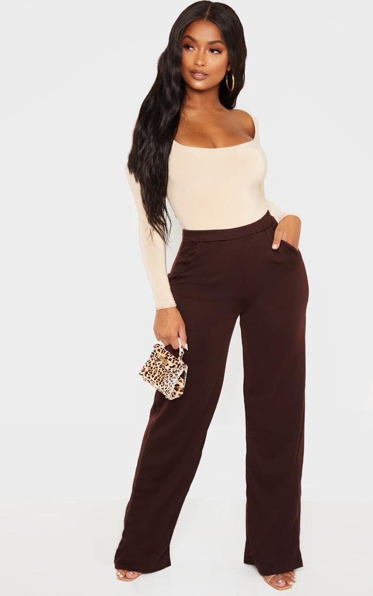 Shape Chocolate Brown Wide Leg Pants 1