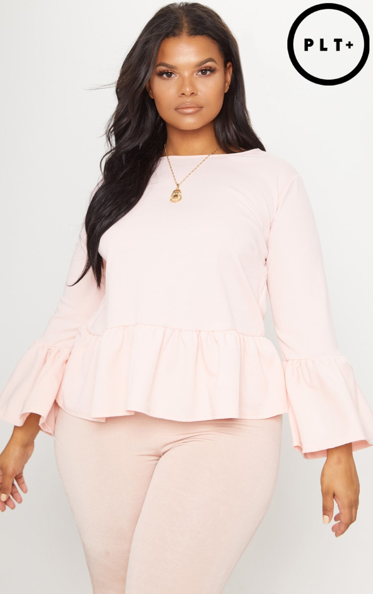 Plus Blush Frill Sleeve Top