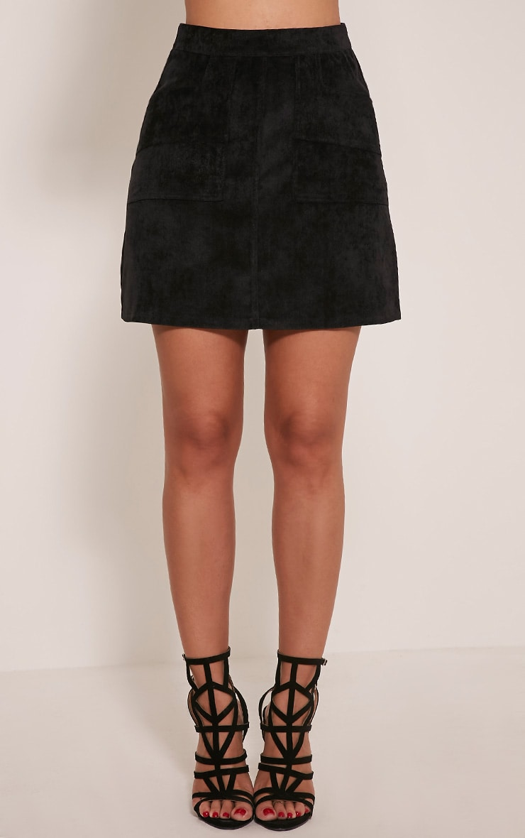 Connie Black Cord Pocket Mini Skirt 3