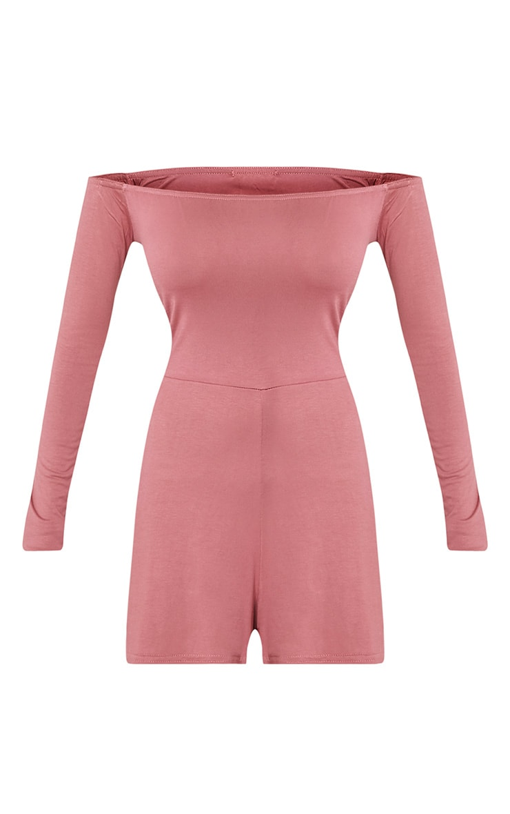 Basic Rose Bardot Jersey Playsuit 3