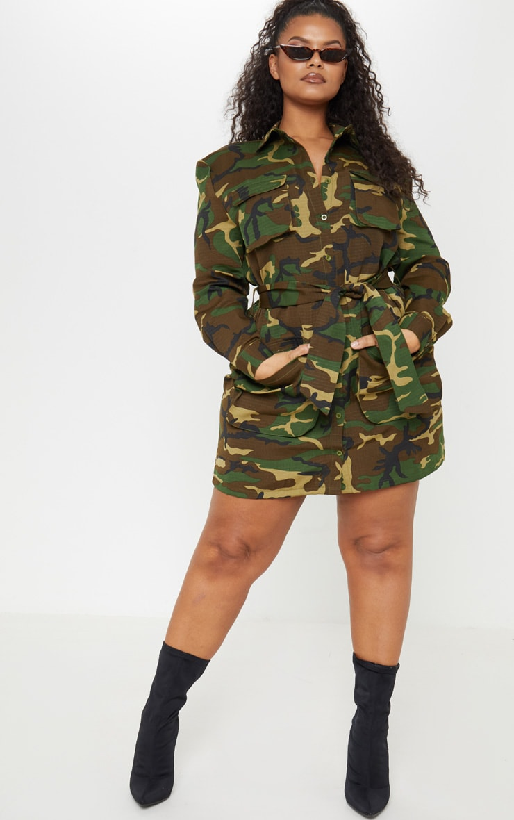 Plus Camo Utility Tie Waist Shirt Dress 4
