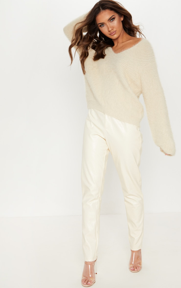 Cream Eyelash Knitted Sweater 4