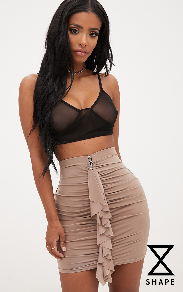 Shape Taupe Ruched Zip Front Mini Skirt  1
