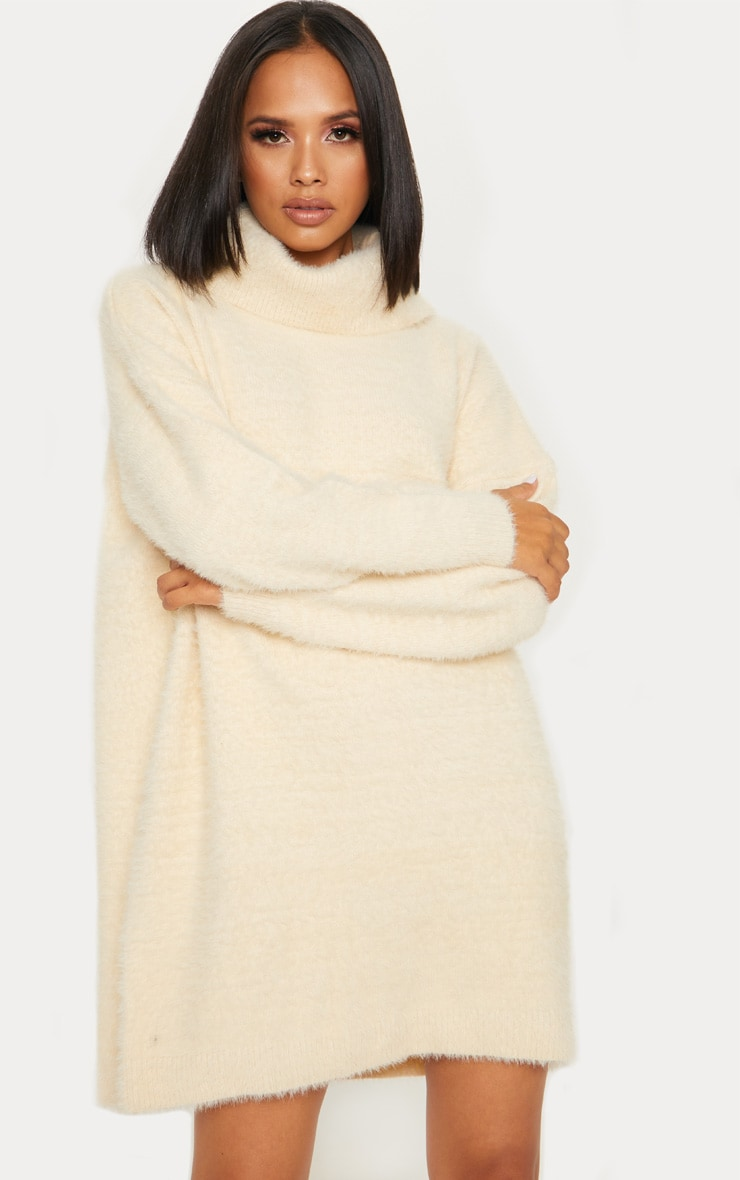 CREAM KNITTED HIGH NECK JUMPER DRESS
